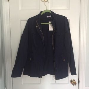 Navy Military Jacket - Size LG, zip up